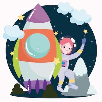 Astronauta espacial niña exploración y descubrimiento de la nave espacial linda caricatura