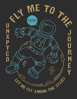 Astronauta espacial vector de la luna