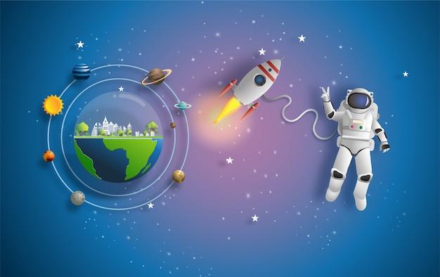 Astronauta en el espacio exterior en misión.