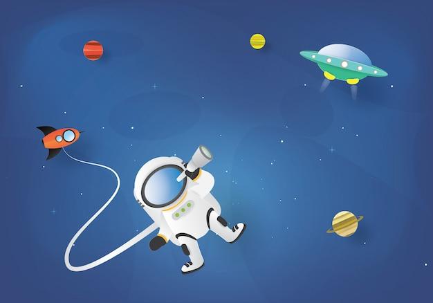 Astronauta en el espacio exterior y ovni,