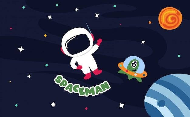 Astronauta en el espacio exterior con todas las estrellas y planetas ilustración