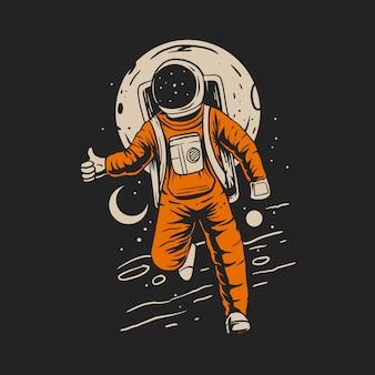 Astronauta en el espacio con la ilustración de fondo del planeta