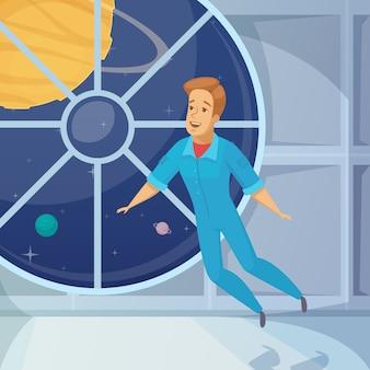 Astronauta espacio sin peso de dibujos animados