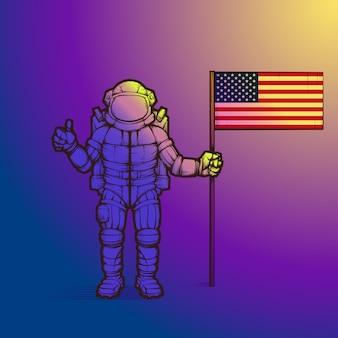 Astronauta establece la bandera de los estados unidos