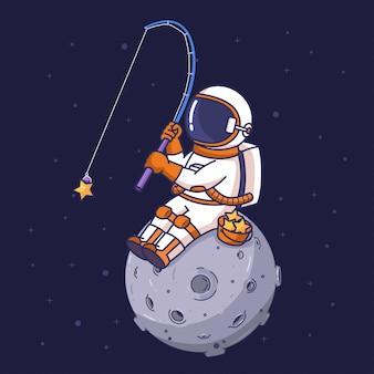 Astronauta estrella de pesca en el espacio