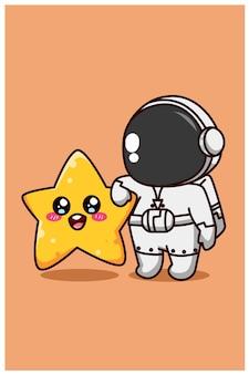 Astronauta feliz y divertido con dibujos animados de estrella pequeña