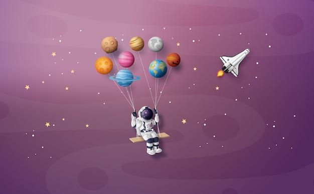 Astronauta flotando en la estratosfera.