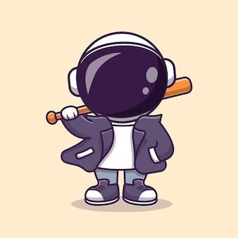 Astronauta fresco con ilustración de icono de vector de dibujos animados de bate y chaqueta de béisbol. concepto de icono de deporte de ciencia aislado vector premium. estilo de dibujos animados plana