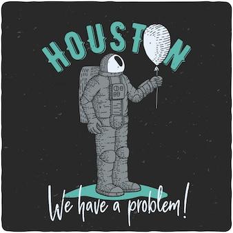 Astronauta con globo aerostático