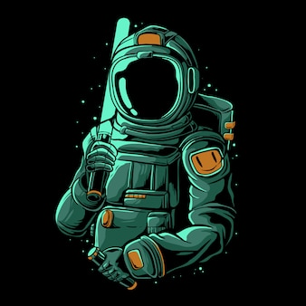 Astronauta con ilustración de espada láser