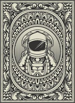 Astronauta de ilustración en marco de adorno vintage