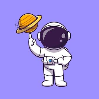 Astronauta jugando ilustración de dibujos animados de bola de planeta. concepto de deporte de ciencia aislado. estilo de dibujos animados plana
