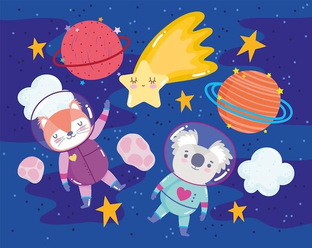 Astronauta koala y zorro con planetas y estrellas espacio aventura galaxia ilustración de dibujos animados