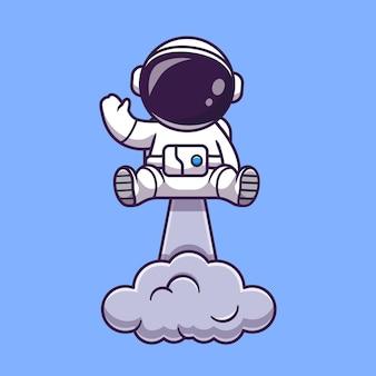 Astronauta lanzando en el espacio y agitando la mano ilustración de dibujos animados. concepto de tecnología de ciencia aislado. estilo de dibujos animados plana