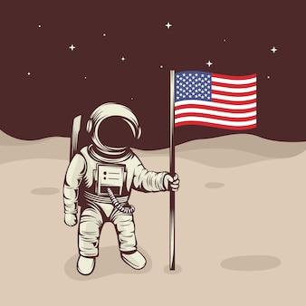Astronauta levanta la bandera en la luna.