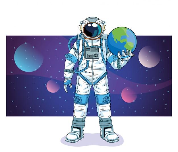 Astronauta levantando el planeta tierra en la ilustración del personaje espacial