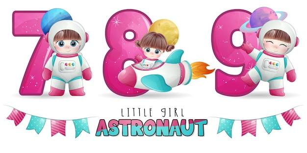 Astronauta linda chica con conjunto de ilustración de numeración