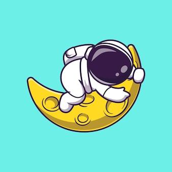 Astronauta lindo abrazo ilustración icono vector dibujos animados luna hoz