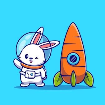 Astronauta lindo conejo con ilustración de icono de dibujos animados de cohete de zanahoria. concepto de icono de tecnología animal aislado. estilo de dibujos animados plana