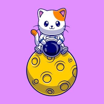 Astronauta lindo gato sentado en la ilustración de icono de vector de dibujos animados de luna. concepto de icono de ciencia animal aislado vector premium. estilo de dibujos animados plana