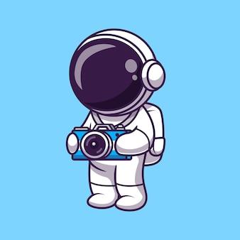 Astronauta lindo con la ilustración de la cámara