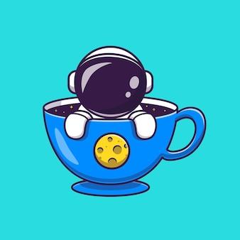 Astronauta lindo en la ilustración de icono de vector de dibujos animados de taza. concepto de icono de bebida de ciencia aislado vector premium. estilo de dibujos animados plana