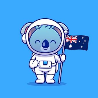 Astronauta lindo del koala que sostiene el ejemplo del icono del vector de la historieta de la bandera de australia. concepto de icono de tecnología animal aislado vector premium. estilo de dibujos animados plana