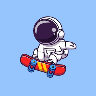 Astronauta lindo que juega el ejemplo del icono del vector de la historieta del monopatín. icono de deporte espacial