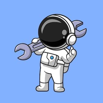 Astronauta lindo que sostiene la ilustración del icono del vector de la historieta de la llave inglesa. concepto de icono de tecnología de ciencia aislado vector premium. estilo de dibujos animados plana
