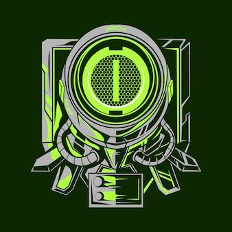 Astronauta mecha ilustración diseño verde