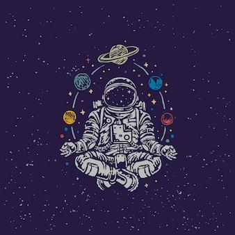 Astronauta meditando vintage old school ilustración