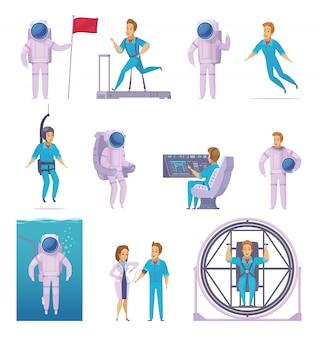 Astronauta misión espacial iconos de dibujos animados con entrenamiento de examen médico