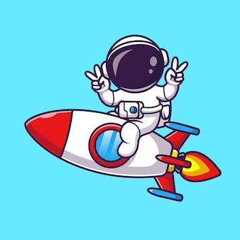 Astronauta montando un cohete con la ilustración del icono del vector de la historieta de la mano de la paz. concepto de icono de tecnología de ciencia aislado vector premium. estilo de dibujos animados plana