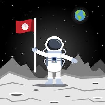 Astronauta o astronauta en la luna con bandera, ilustración