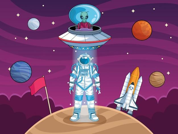 Astronauta con ovnis y planetas en la ilustración del espacio