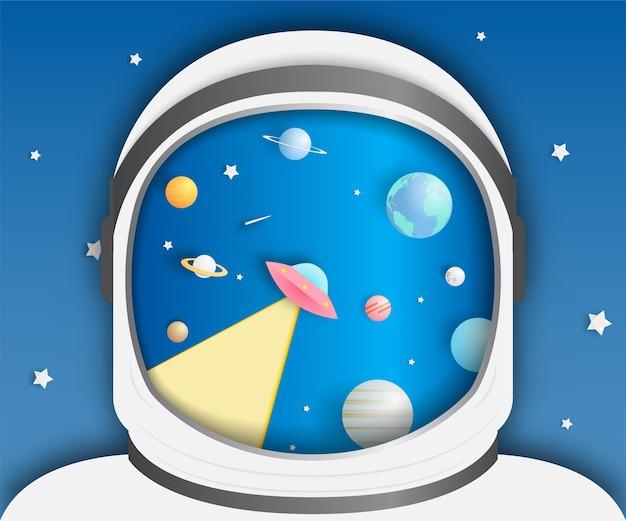 Astronauta y papel arte de papel del sistema solar y haz ovni.