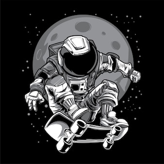 Astronauta, patineta, espacio, luna, ilustración
