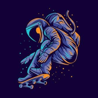 Astronauta, patineta, salto, ilustración