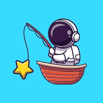Astronauta pesca estrella en barco ilustración de dibujos animados. concepto de vacaciones de ciencia aislado. estilo de dibujos animados plana