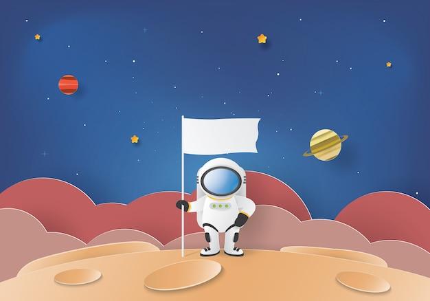 Astronauta de pie en la luna con una bandera.