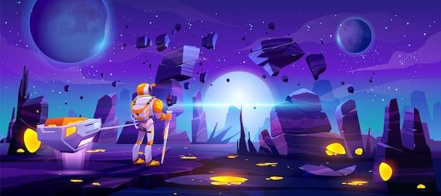 Astronauta en el planeta alienígena explora la galaxia lejana