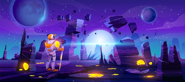 Astronauta en planeta alienígena en galaxia lejana