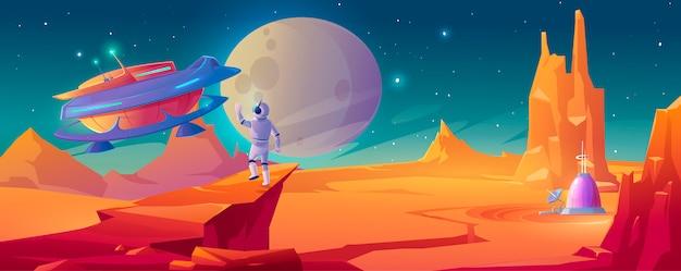 Astronauta en planeta alienígena saludando a la nave espacial