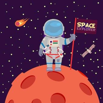 Astronauta en un planeta de dibujos animados