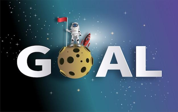 Astronauta que levanta la bandera en la luna con la nave espacial.