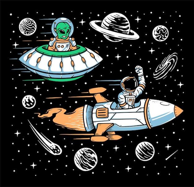 Astronauta y raza alienígena.