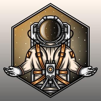 El astronauta reza en la galaxia.