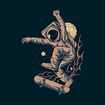 Astronauta saltando patineta en el espacio con diseño de ilustración de fondo de luna
