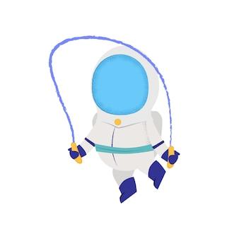 Astronauta saltando con saltar la cuerda. astronauta, personaje, entrenamiento.