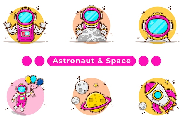 Astronauta y satélite con ilustración de cohete.
